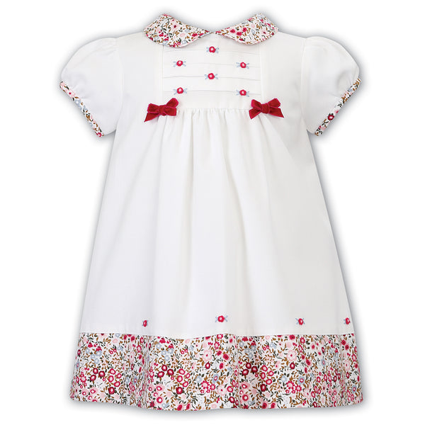 Sarah Louise Baby Girls White & Crimson Dress