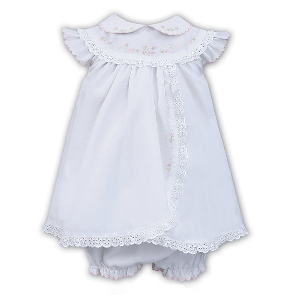 Sarah Louise Baby Girls White Lace Trim Dress & Panty Set