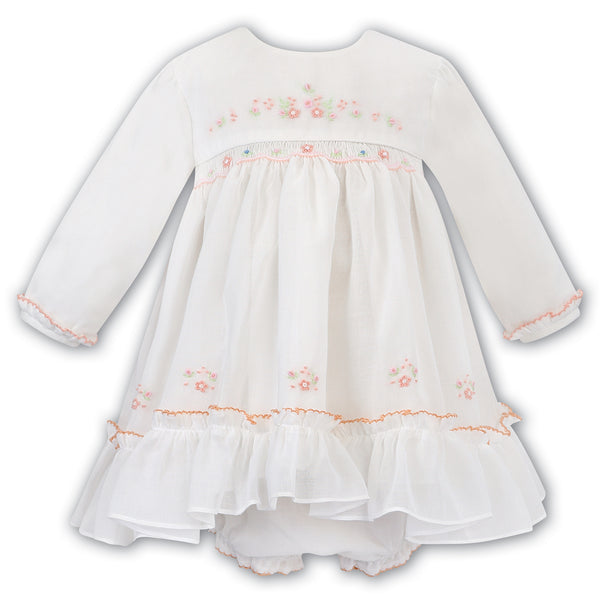Sarah Louise Baby Girls White & Peach Hand-Smocked Dress