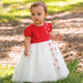 Sarah Louise Baby Girls White & Red Party Dress and Hairband Set