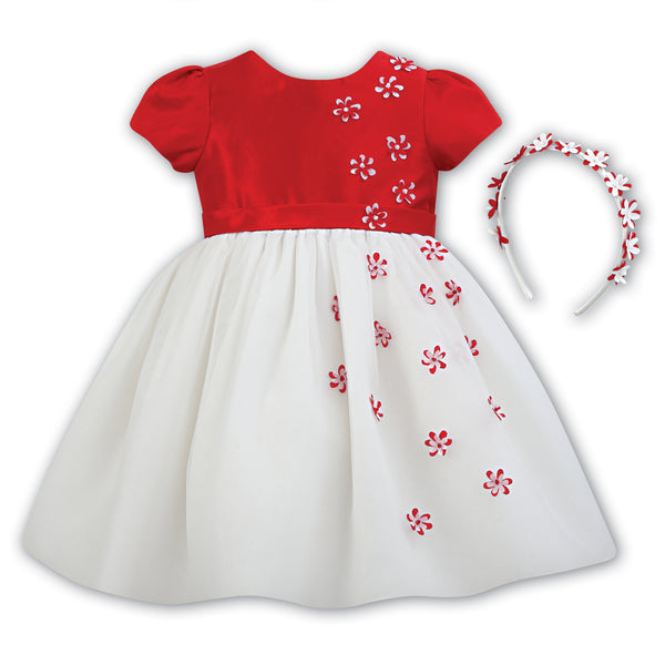 3362c7a2a80d6 Sarah Louise Baby Girls White & Red Party Dress and Hairband Set