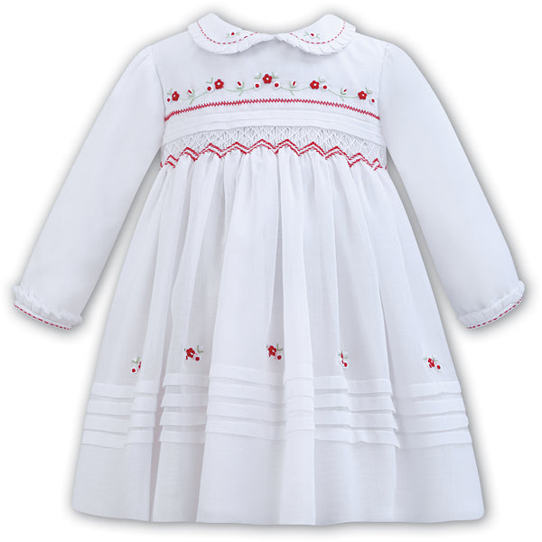 Sarah Louise Baby Girls White Hand-Smocked Dress