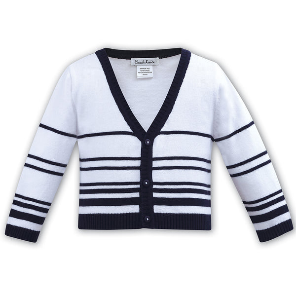 Sarah Louise Boys White & Navy Cotton Knit Cardigan