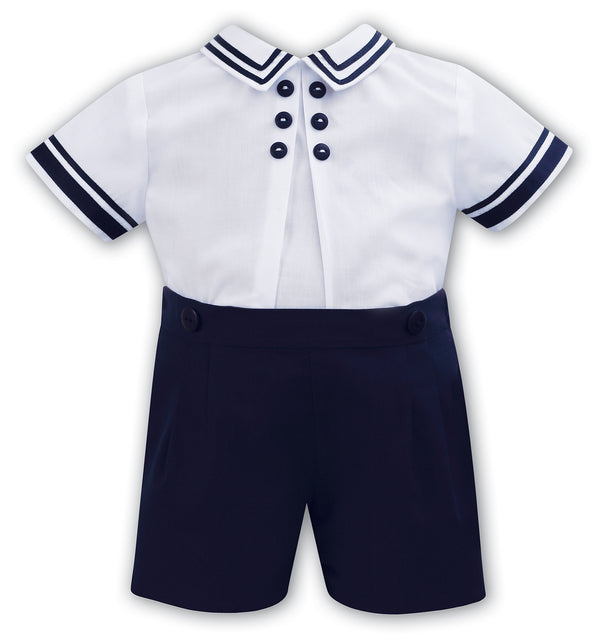 Sarah Louise White & Navy Two Piece Outfit