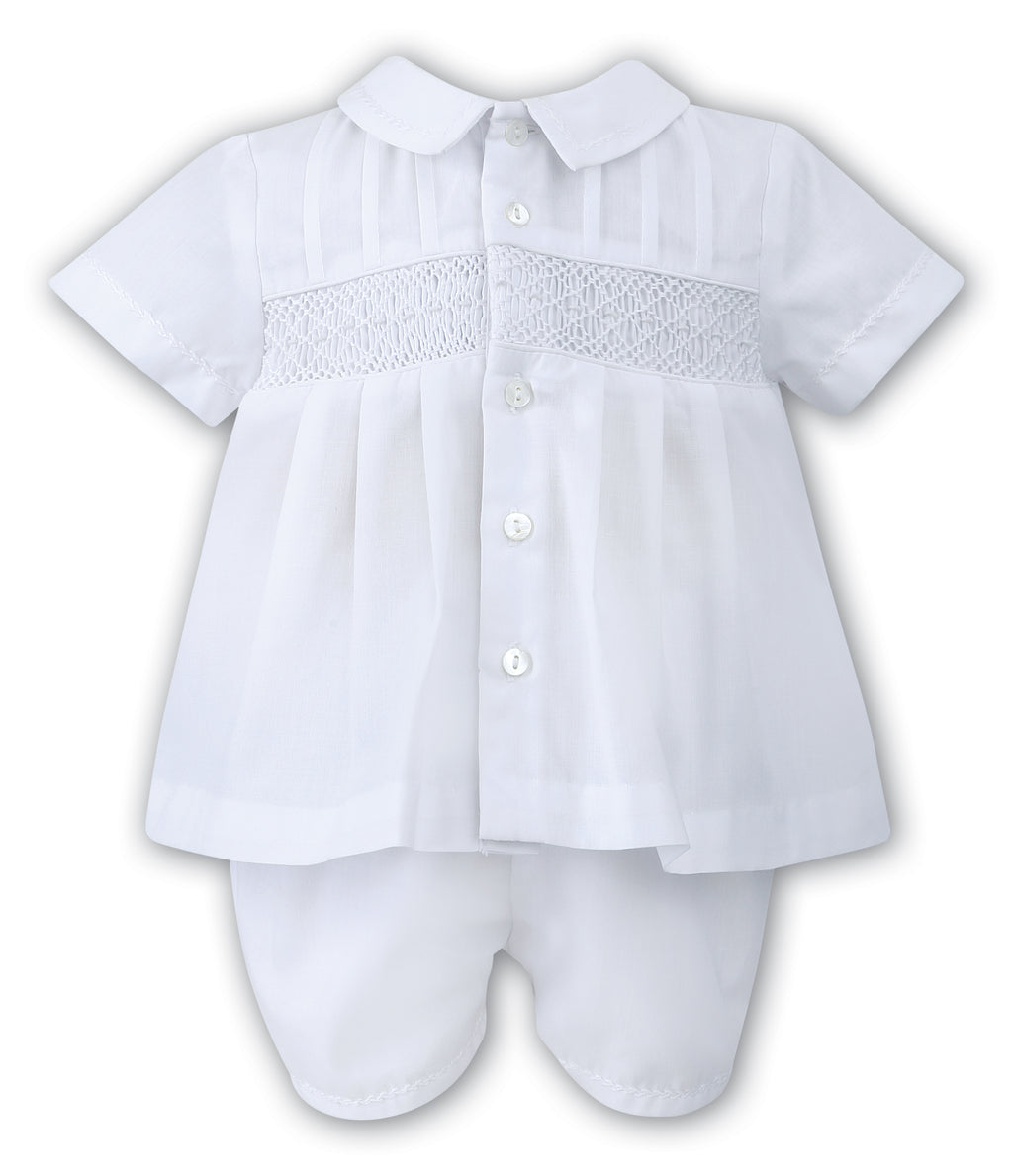 Sarah Louise Baby Boys White Two Piece Outfit Set