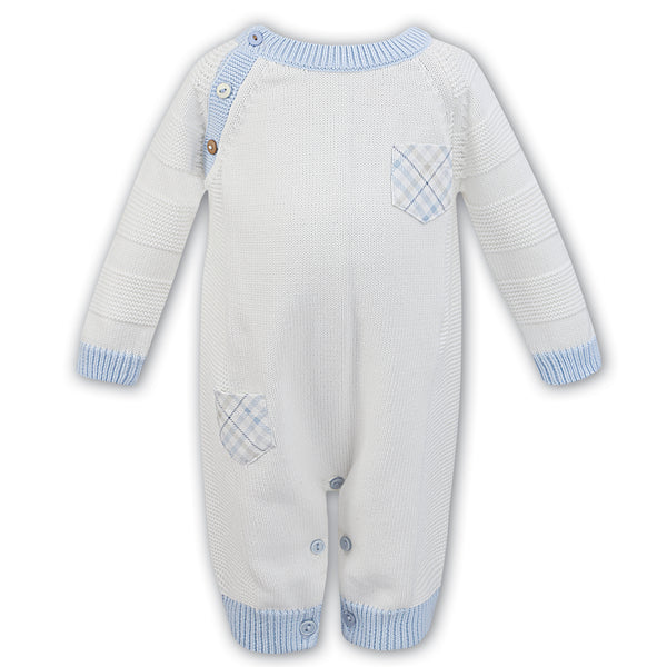 Dani by Sarah Louise Baby Boys Ivory & Blue Romper