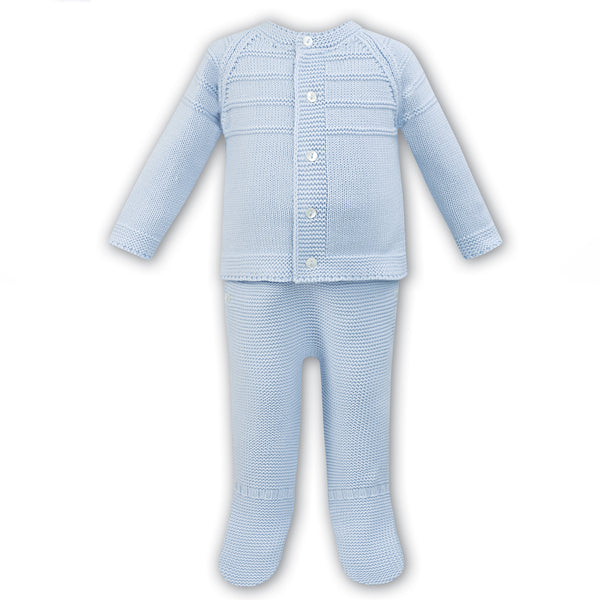 Dani by Sarah Louise Baby Boys Blue Knitted Two Piece Set