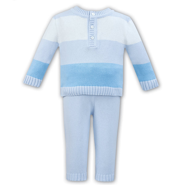 Dani By Sarah Louise Baby Boys Blue Knitted Trouser Set