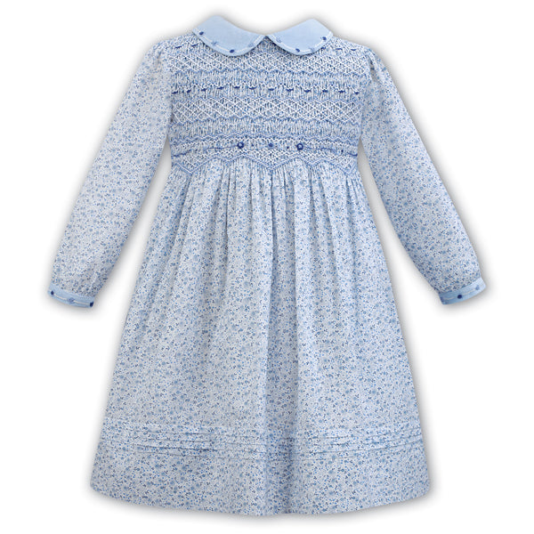 Sarah Louise Girls Blue Floral Hand-Smocked Dress