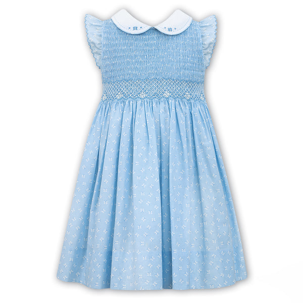 Sarah Louise Girls Blue Hand Smocked Dress