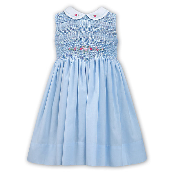 Sarah Louise Girls Blue Sleeveless Hand Smocked Dress