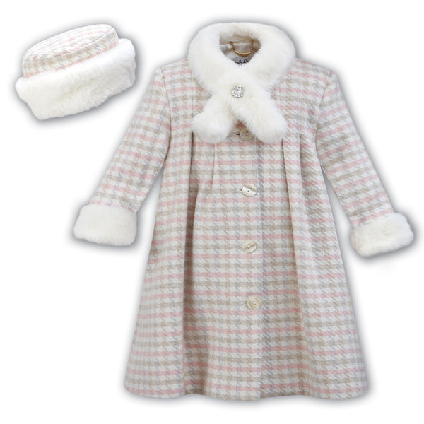 Sarah Louise Girls Check Wool Coat & Hat Set