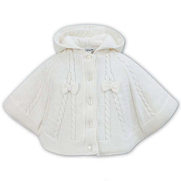 Sarah Louise Girls Cream Knitted Cape