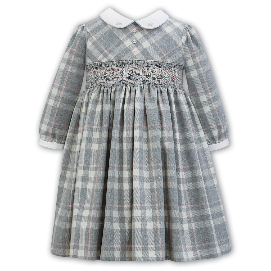 Sarah Louise Girls Grey Check Hand-Smocked Dress