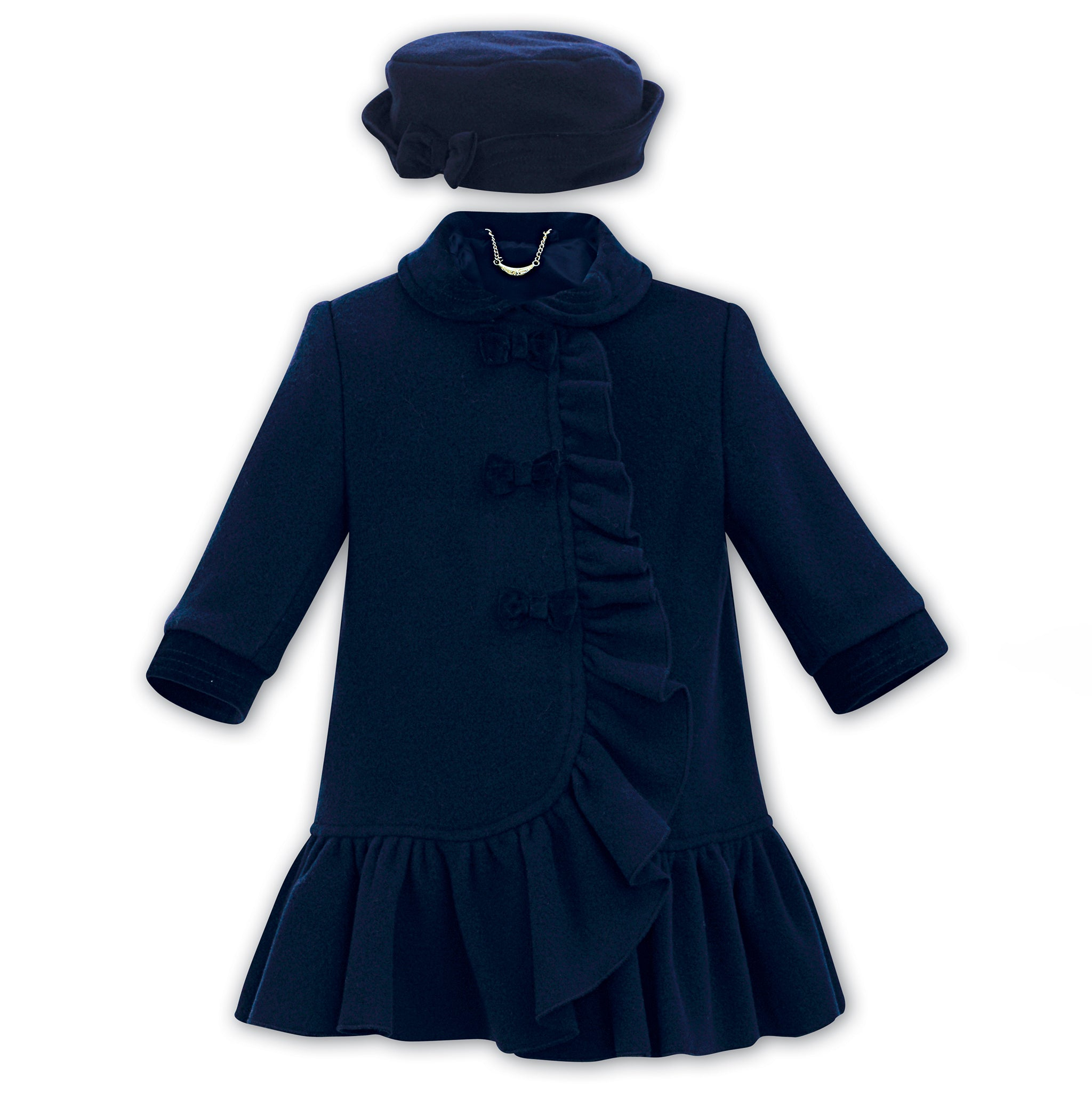 d26d9a1d5f23 Sarah Louise Navy Wool Coat   Hat Set