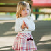 Sarah Louise Girls Pink Tartan Skirt Set