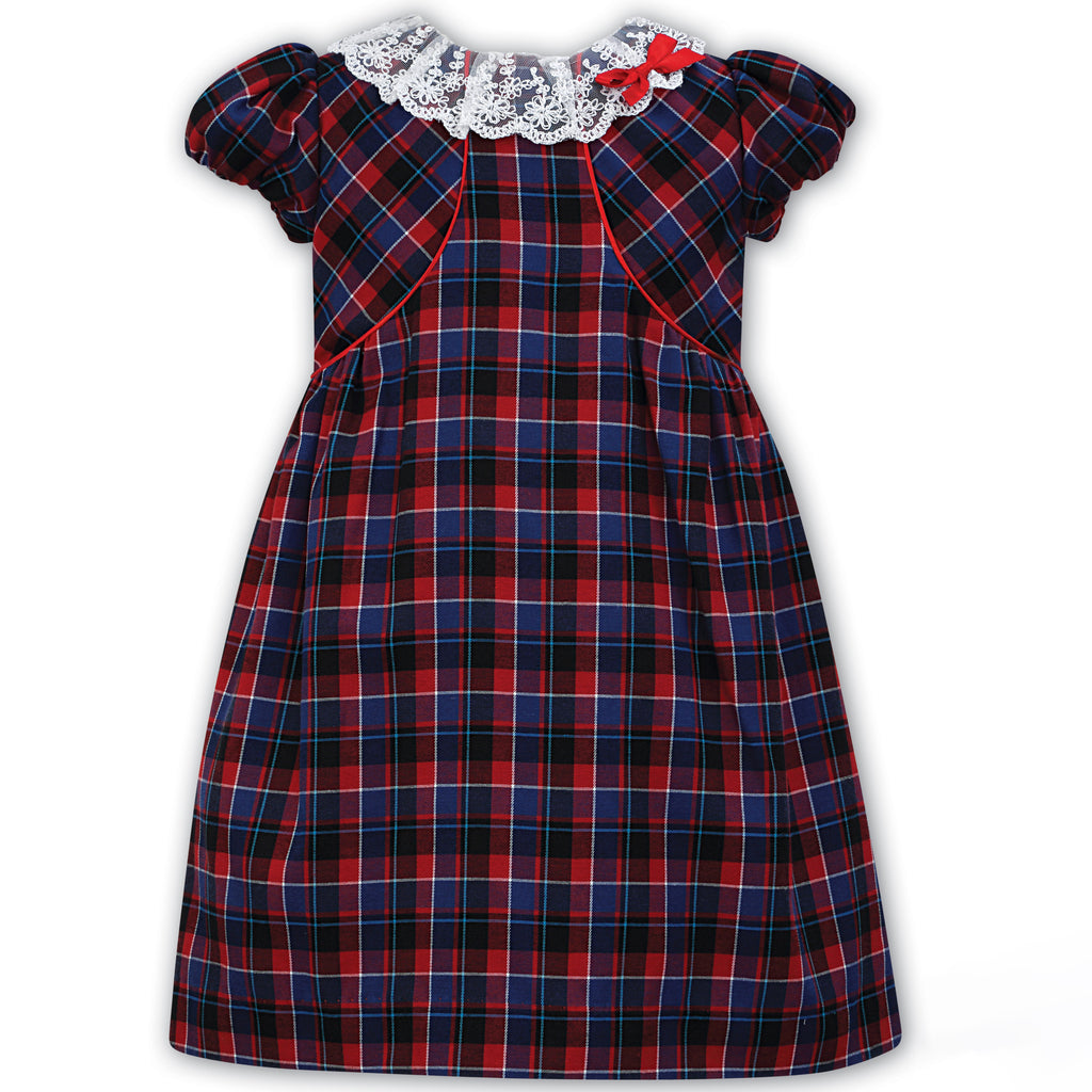 Sarah Louise Girls Red & Blue Tartan Dress