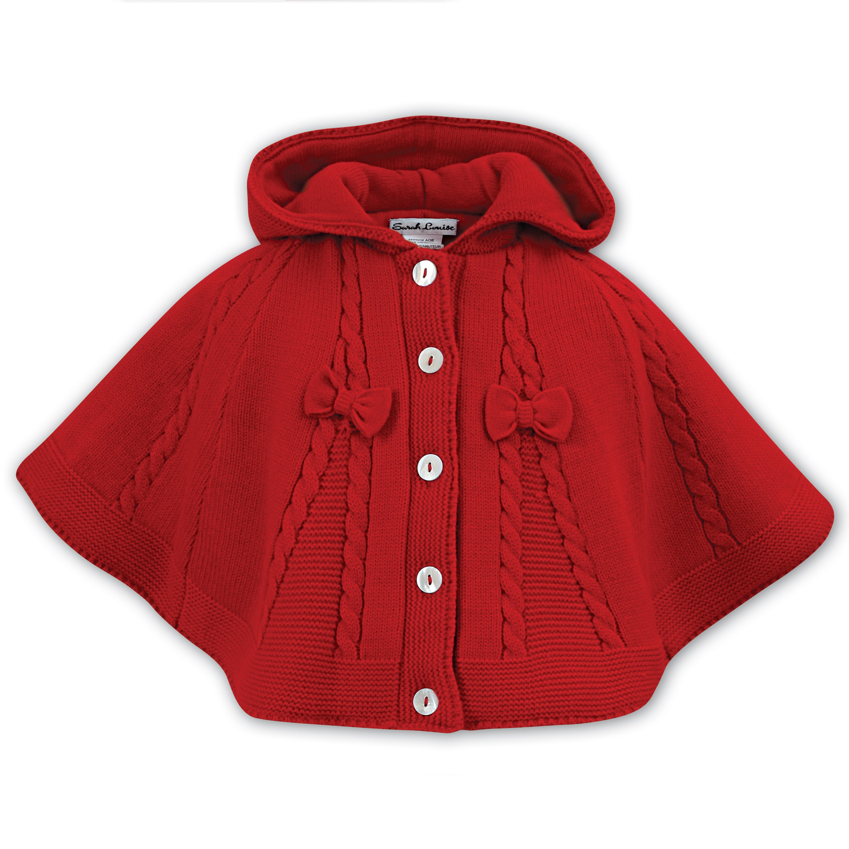 0b8fba79353e Sarah Louise Girls Red Knitted Cape