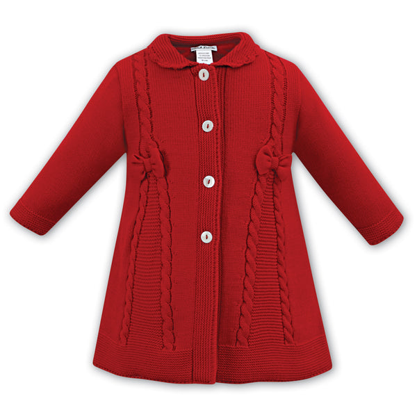 Sarah Louise Girls Red Knitted Coat