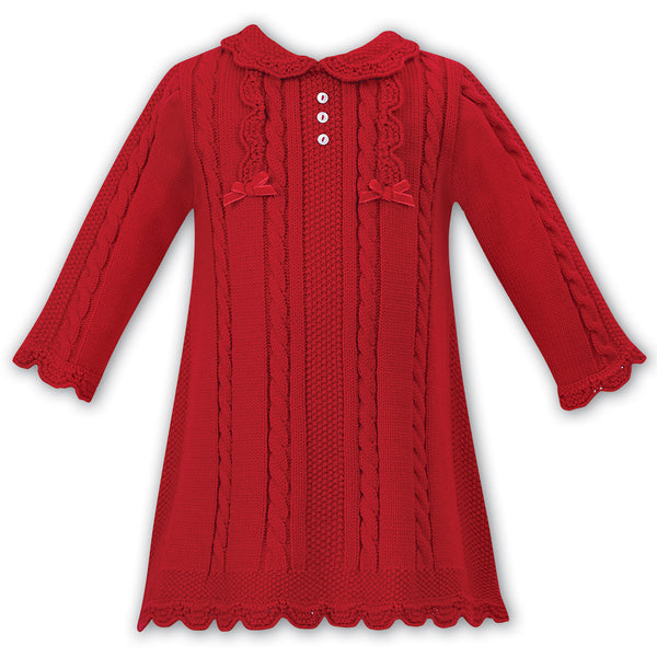 Sarah Louise Girls Red Knitted Dress