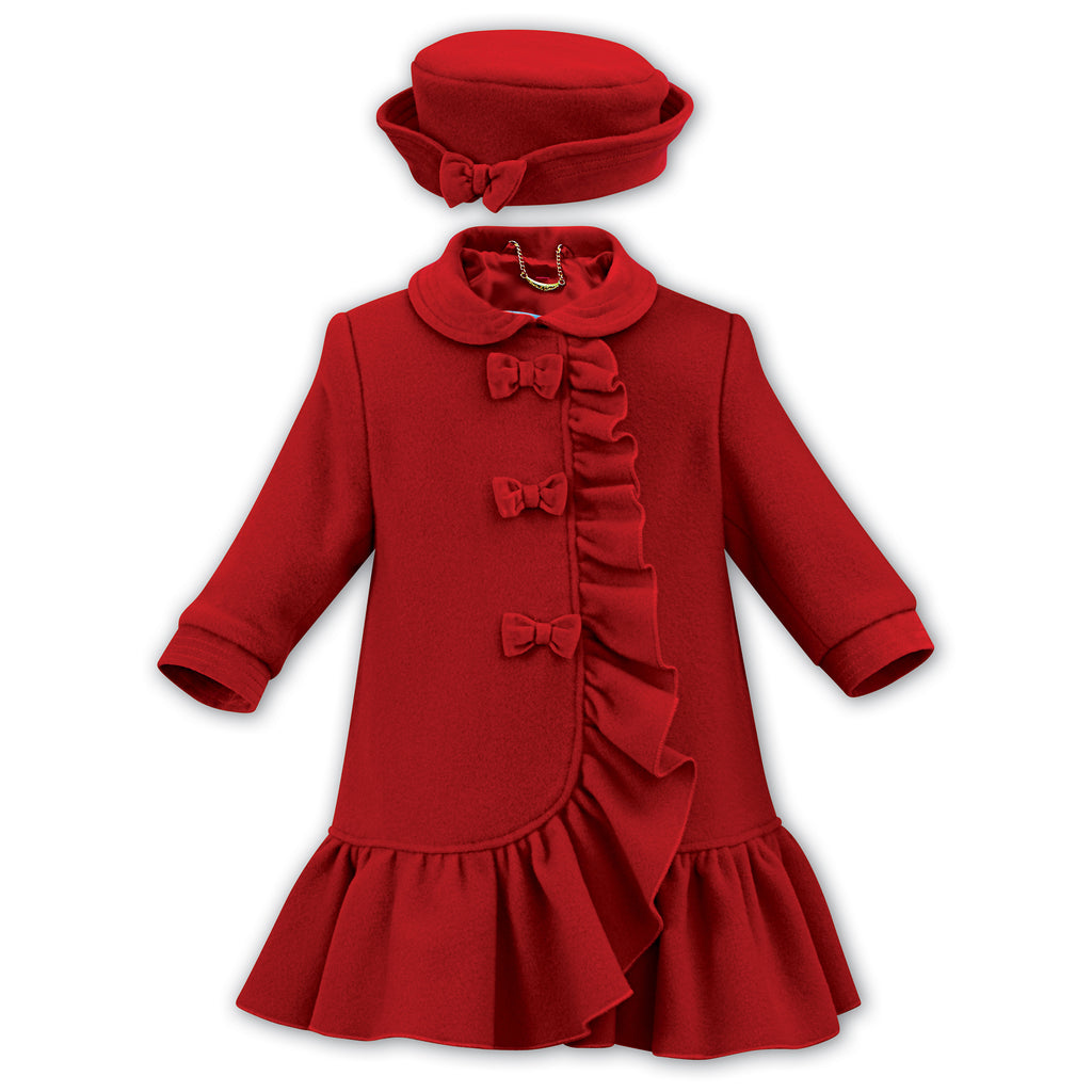 Sarah Louise Red Wool Coat & Hat Set