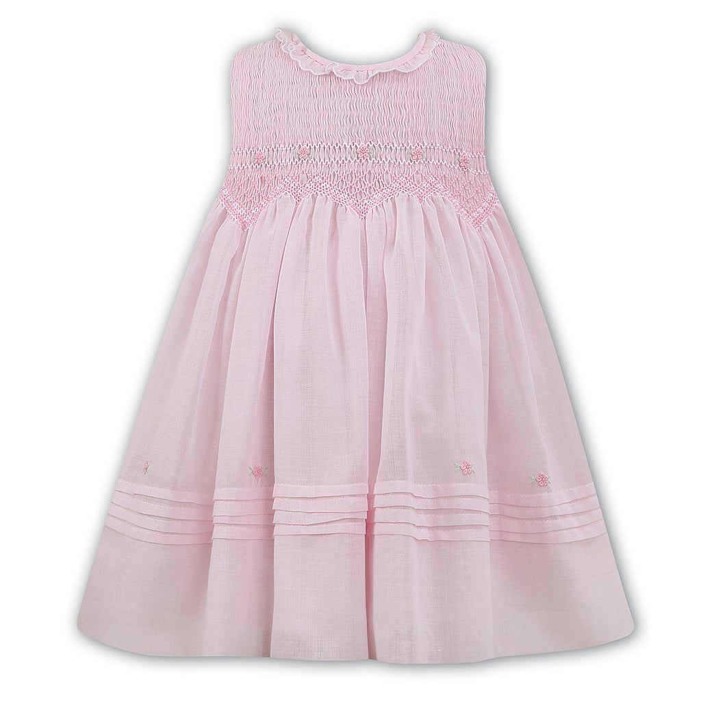 Sarah Louise Girls Smocked Pink Voile Dress