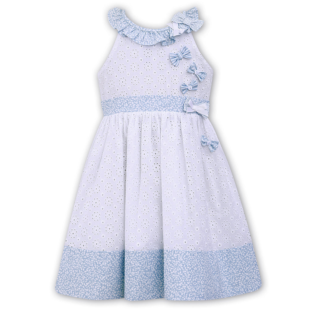 Sarah Louise Girls White & Blue Broderie Anglaise Dress
