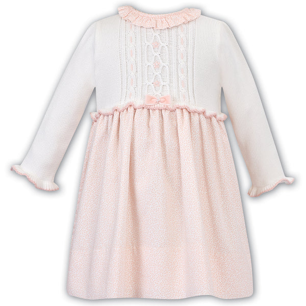 Sarah Louise Girls White & Peach Knitted Dress