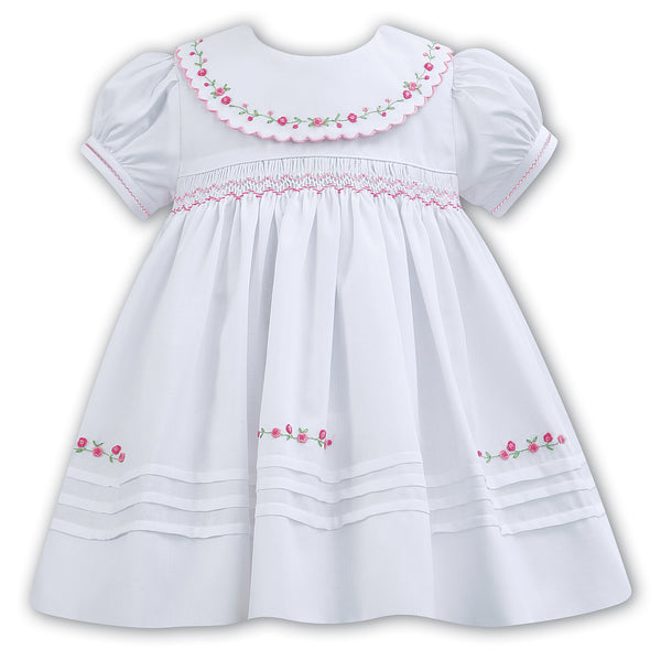 32bf29a9d9d7a Sarah Louise White Hand Embroidered Dress