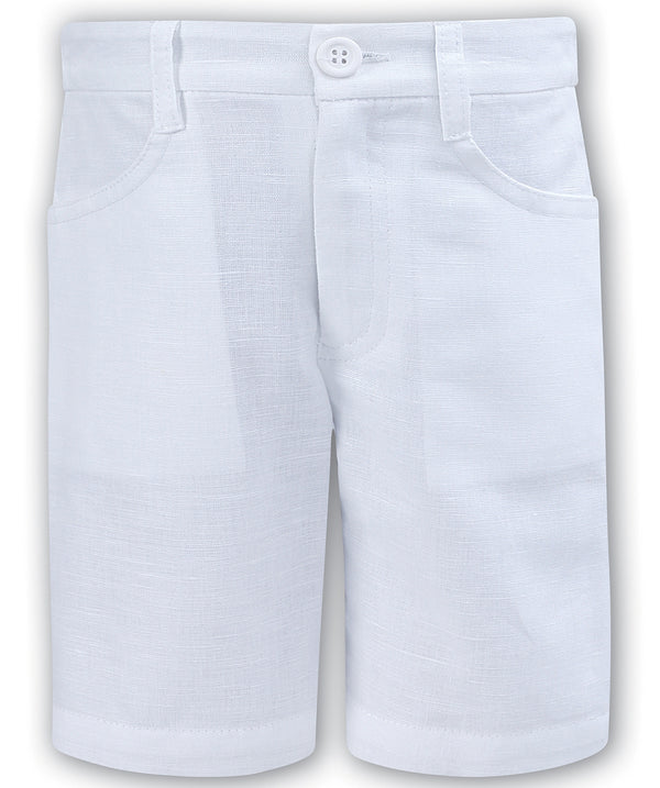 Sarah Louise White Linen Shorts