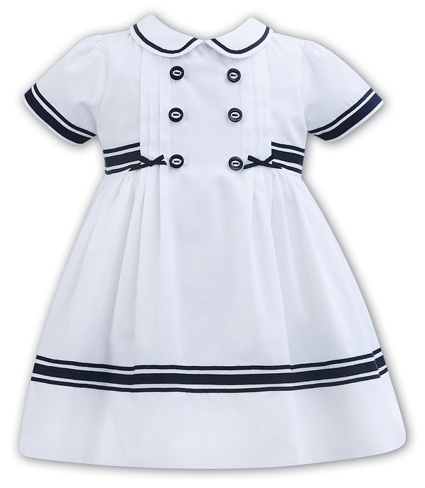 Sarah Louise White & Navy Collared Dress