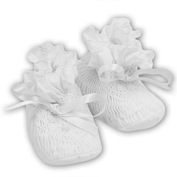 Sarah Louise Baby Girl White Booties
