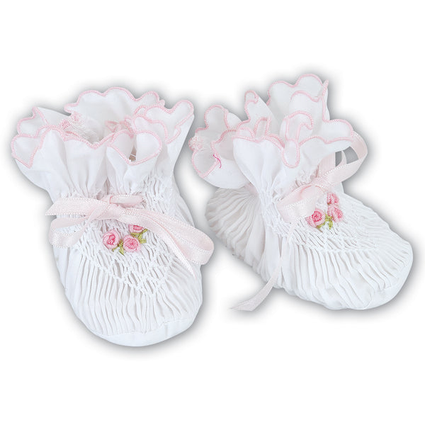 Sarah Louise Baby Girl White & Pink Booties