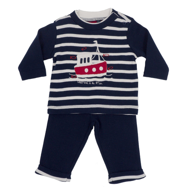 Weekend à la Mer Baby Boys Navy Stripe Trouser Set