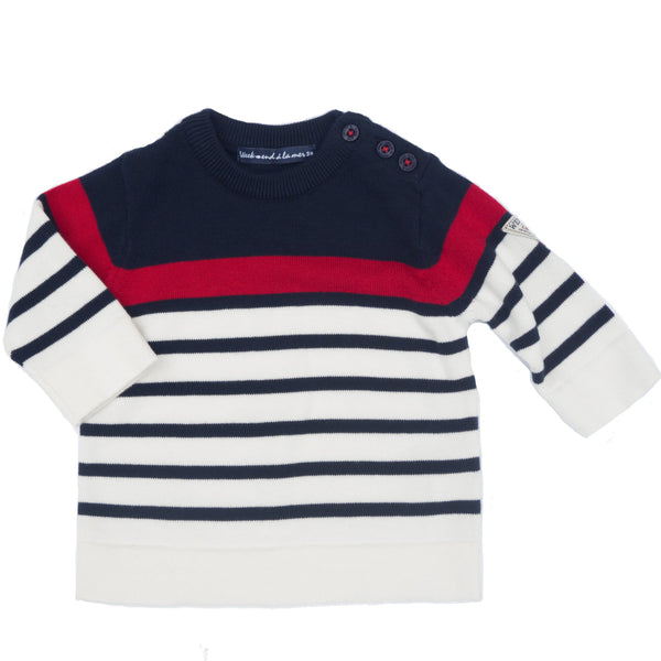 Weekend à la Mer Baby Boys Navy Stripe Sweater