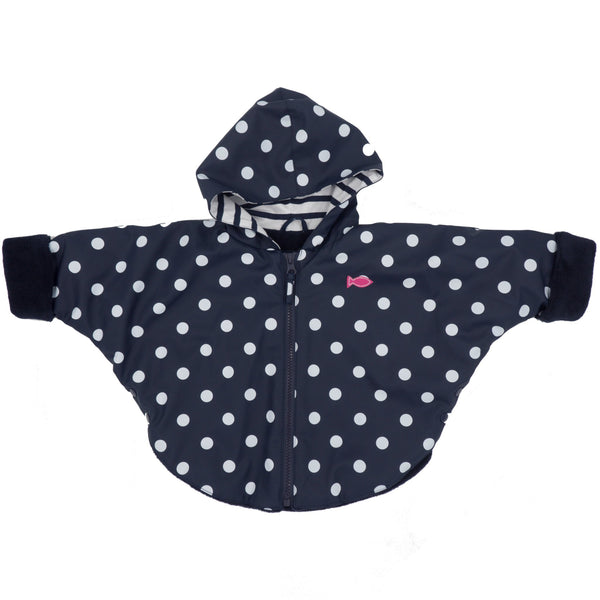 Weekend à la Mer Baby Girls Navy Polka Dot Hooded Rain Cape