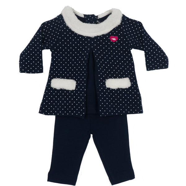 Weekend à la Mer Baby Girls Navy Top & Leggings Set
