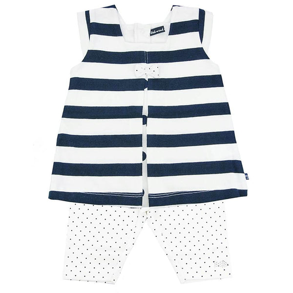Weekend à la Mer Baby Girls White & Navy Two Piece Set