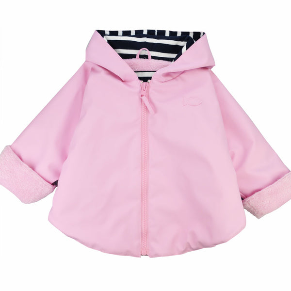 Weekend à la Mer Baby Girls Pink Fleece Lined Rain Cape