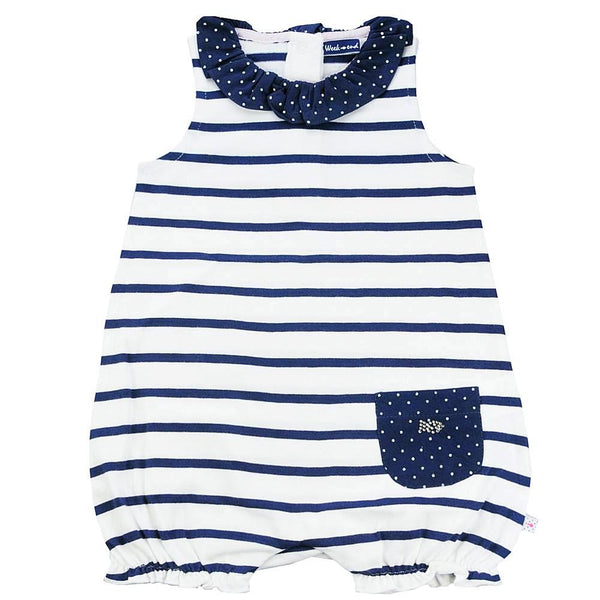 Weekend à la Mer Baby Girls White & Navy Striped Shortie