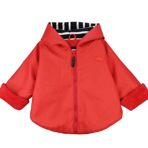 Weekend à la Mer Baby Red Fleece Lined Rain Cape