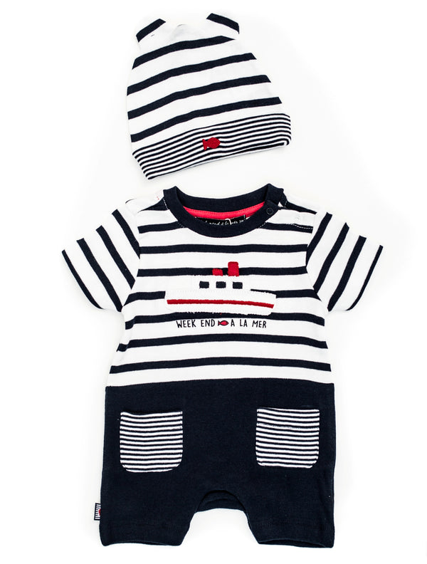 Weekend à la Mer Boat Romper with Hat