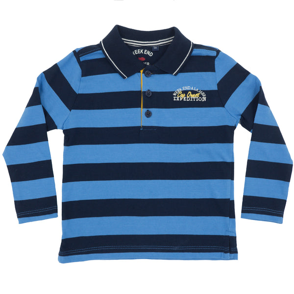 Weekend à la Mer Boys Navy & Blue Stripe Polo Shirt