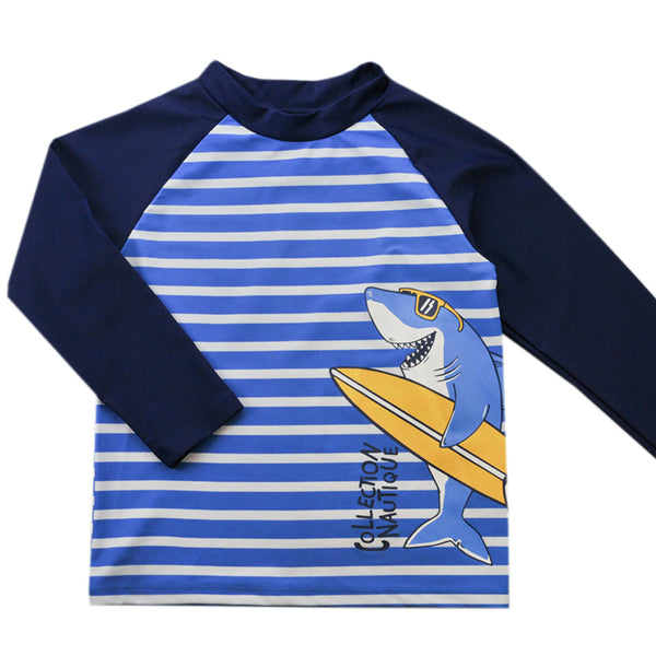 Weekend à la Mer Boys Blue Striped Shark Rash Vest
