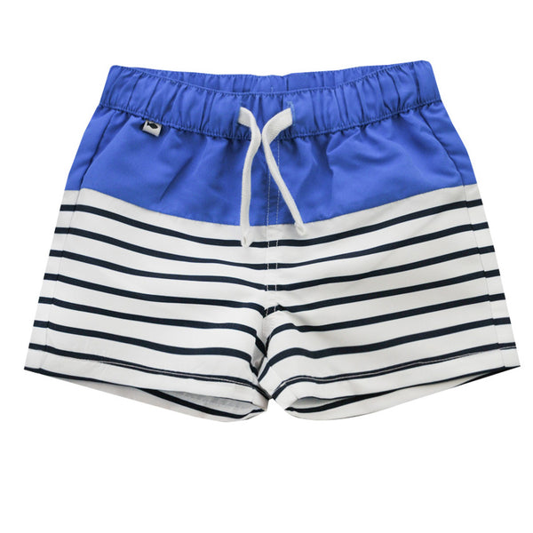 Weekend à la Mer Boys Blue & Navy Striped Swim Shorts