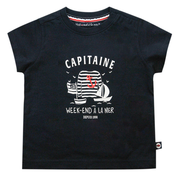 Weekend à la Mer Navy Blue Cotton T-Shirt