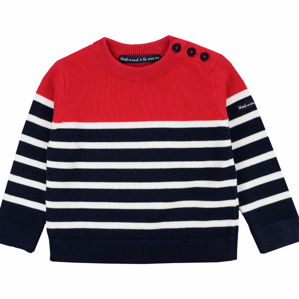 Weekend à la Mer Boys Red & Navy Striped Sweater