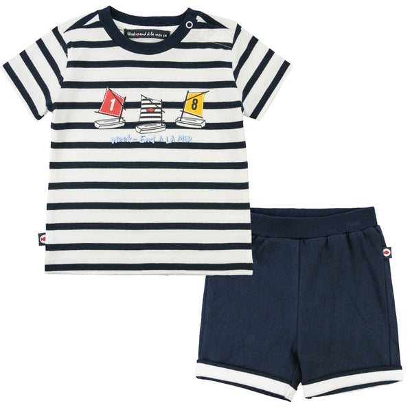 Weekend à la Mer Boys Navy & White Two Piece Set