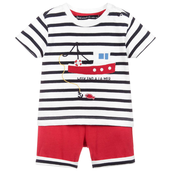 Weekend à la Mer Boys Red & Navy Two Piece Set
