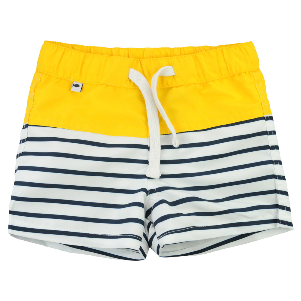 Weekend à la Mer Boys Navy & Yellow Striped Swim Shorts